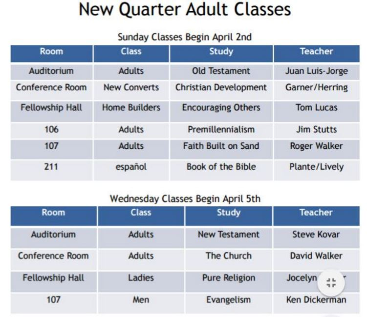 2017 Spring Adult Classes
