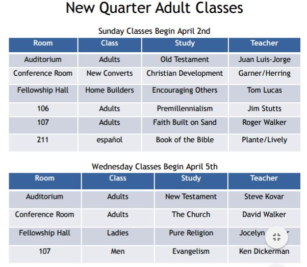 Adult 2017 Spring Class Schedule